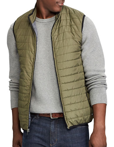 Chaps Packable Quilted Vest-GREEN-1X Tall