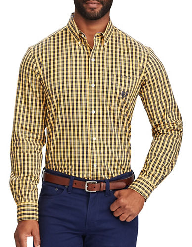 Chaps Big and Tall Plaid Stretch Poplin Shirt-YELLOW-1X Tall