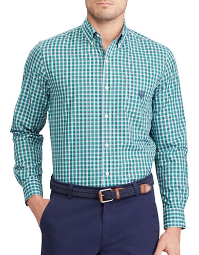 Chaps Big and Tall Plaid Stretch Poplin Shirt-GREEN-1X Tall