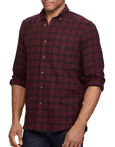 Chaps Performance Flannel Sport Shirt-RED-Medium