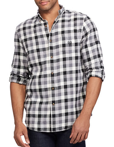 Chaps Performance Flannel Sport Shirt-GREY-Small