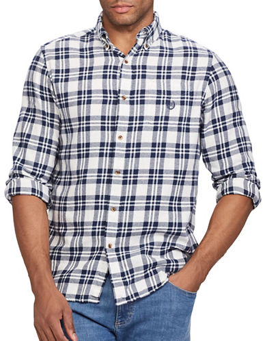 Chaps Performance Flannel Sport Shirt-WHITE-Large