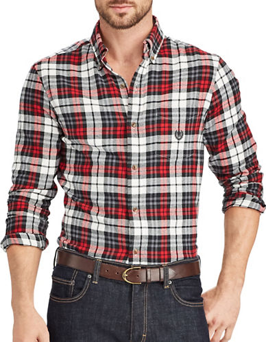 Chaps Performance Flannel Sport Shirt-WHITE-X-Large