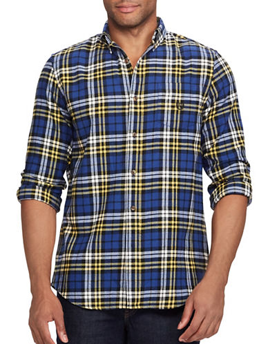 Chaps Performance Flannel Sport Shirt-BLUE-Large