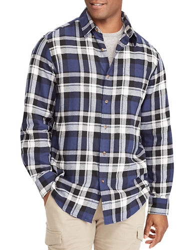 Chaps Performance Flannel Sport Shirt-NAVY-X-Large