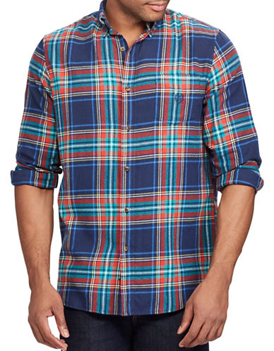Chaps Performance Flannel Sport Shirt-NAVY-Small