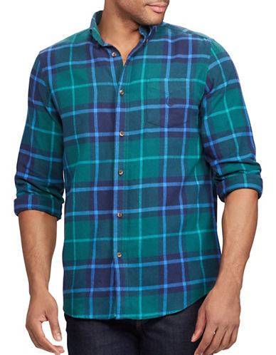 Chaps Performance Flannel Sport Shirt-AQUA-X-Large