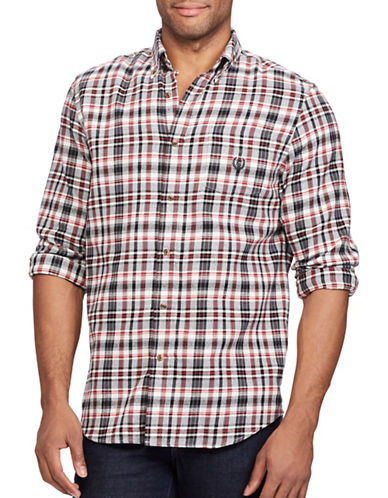 Chaps Performance Flannel Sport Shirt-WHITE-Medium