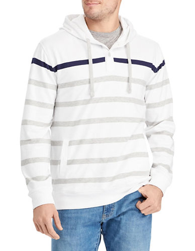 Chaps Striped Cotton Hoodie-WHITE-Large