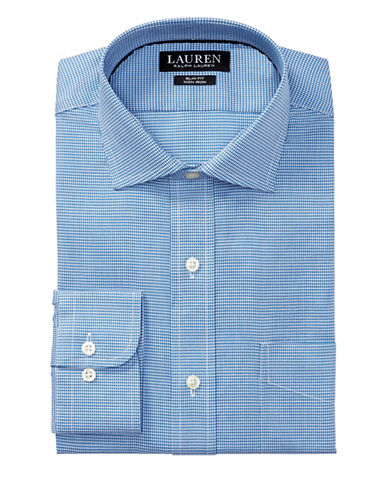 Lauren Ralph Lauren Classic-Fit No-Iron Cotton Dress Shirt-BLUE-17-34/35