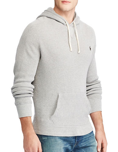 Polo Ralph Lauren Waffle-Knit Cotton Hoodie-GREY-Small