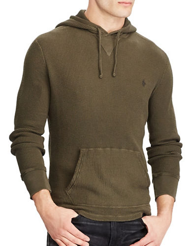 Polo Ralph Lauren Waffle-Knit Cotton Hoodie-GREEN-Large