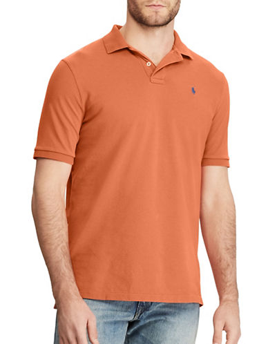 Polo Ralph Lauren Custom Slim-Fit Weathered Mesh Polo-ORANGE-X-Large