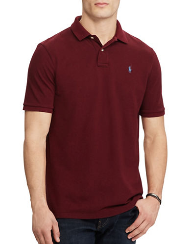 Polo Ralph Lauren Custom Slim-Fit Weathered Mesh Polo-BURGUNDY-X-Large