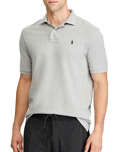 Polo Ralph Lauren Custom Slim-Fit Weathered Mesh Polo-GREY-Large