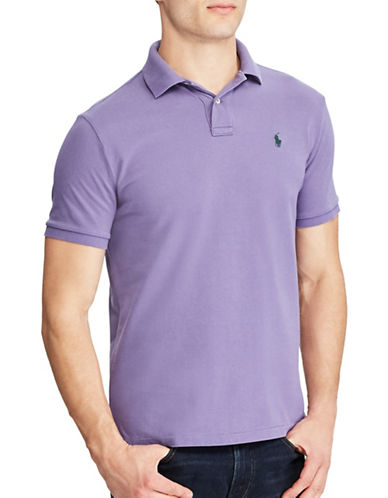 Polo Ralph Lauren Custom Slim-Fit Weathered Mesh Polo-PURPLE-Small