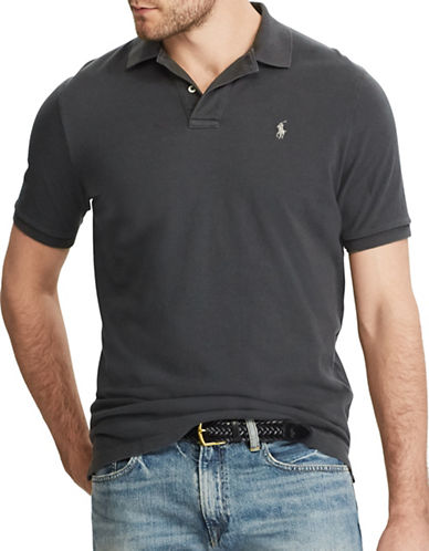 Polo Ralph Lauren Custom Slim-Fit Weathered Mesh Polo-DARK GREY-Large