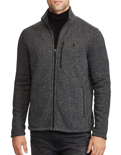 Polo Ralph Lauren Fleece Mockneck Jacket-GREY-Large