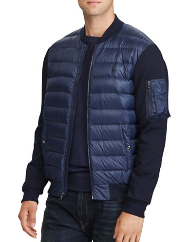 Polo Ralph Lauren Paneled Down Bomber Jacket-NAVY-Large