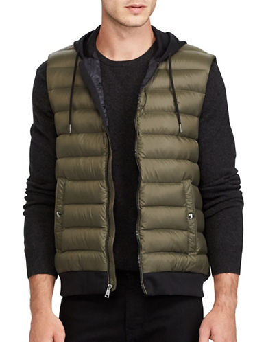 Polo Ralph Lauren Down-Panel Double-Knit Vest-DARK GREEN-Medium