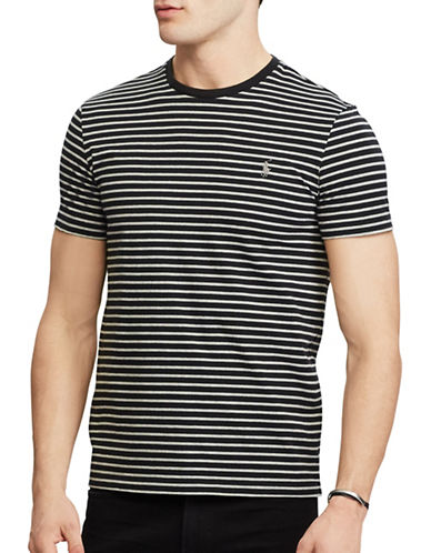 Polo Ralph Lauren Custom Fit Striped T-Shirt-BLACK-Medium