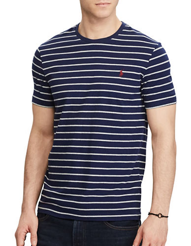 Polo Ralph Lauren Custom Fit Striped T-Shirt-NAVY-XX-Large