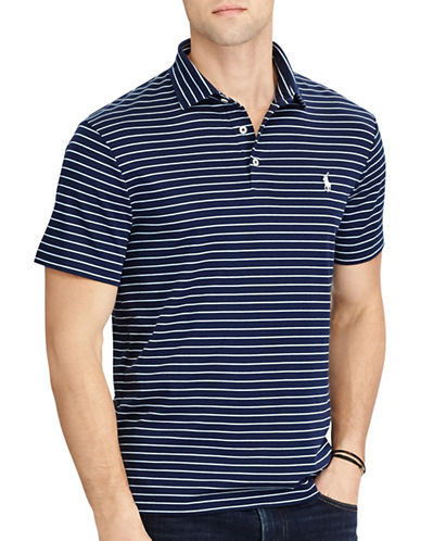 Polo Ralph Lauren Classic Fit Striped Soft-Touch Polo-NAVY-Small