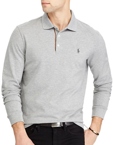 Polo Ralph Lauren Custom Slim Stretch Mesh Polo-GREY-Large