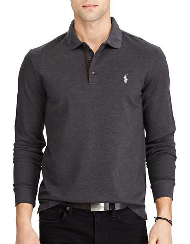 Polo Ralph Lauren Custom Slim Stretch Mesh Polo-DARK GREY-Medium