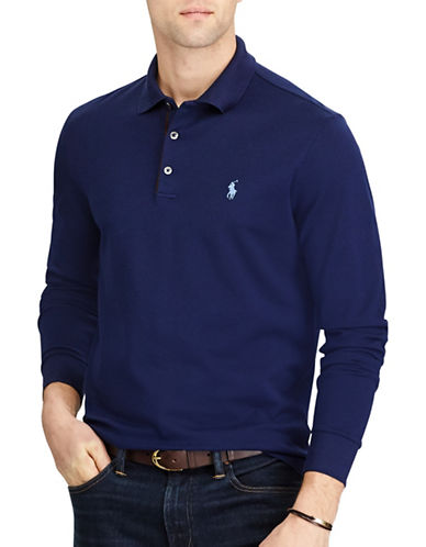 Polo Ralph Lauren Custom Slim Stretch Mesh Polo-FRENCH NAVY-X-Large
