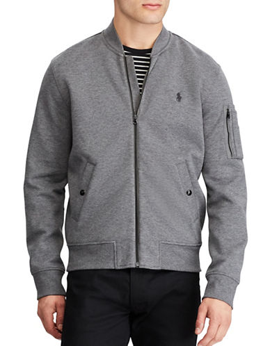 Polo Ralph Lauren Double Knit Bomber Jacket-GREY-XX-Large