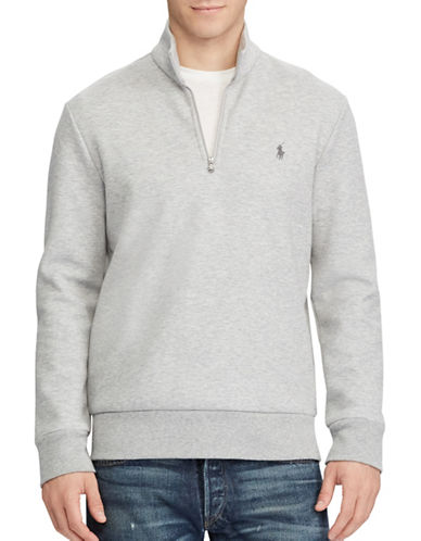Polo Ralph Lauren Double-Knit Half-Zip Pullover-GREY-Small