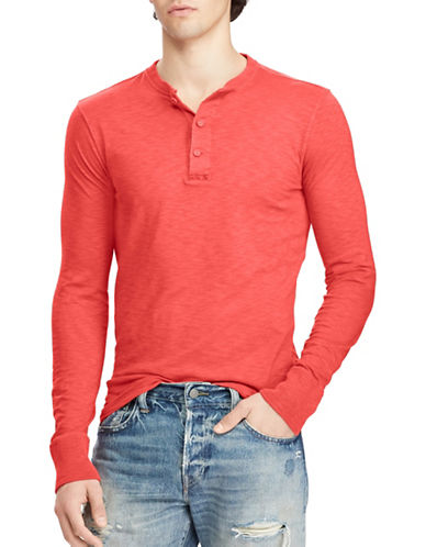 Polo Ralph Lauren Slub Cotton Jersey Henley-RED-X-Large