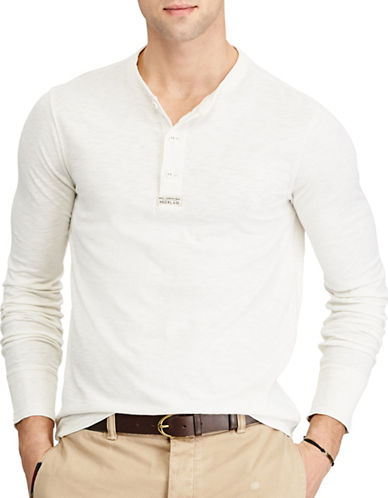 Polo Ralph Lauren Uneven Slub Cotton Jersey Henley-NATURAL-X-Large