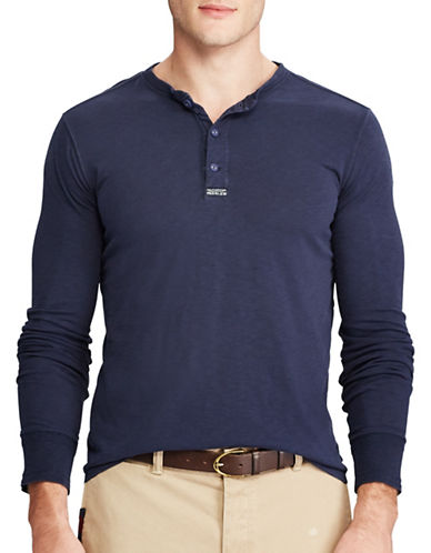 Polo Ralph Lauren Uneven Slub Cotton Jersey Henley-BLUE-Small