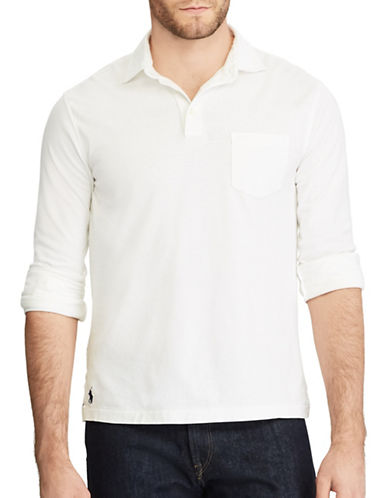 Polo Ralph Lauren Hampton Cotton Sport Shirt-WHITE-Medium 89449924_WHITE_Medium