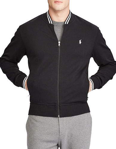 Polo Ralph Lauren Contrast Stripe Cotton Bomber Jacket-POLO BLACK-Small 89449940_POLO BLACK_Small