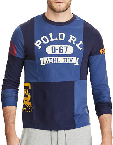Polo Ralph Lauren Uneven Patchwork Jersey Cotton Tee-BLUE-Large