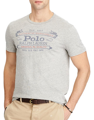 Polo Ralph Lauren Custom Slim Fit Cotton T-Shirt-GREY-Small 89321047_GREY_Small
