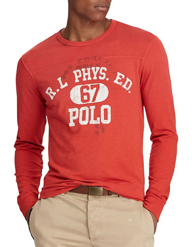 Polo Ralph Lauren Graphic Cotton Tee-RED-Small