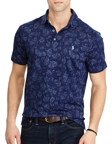 Polo Ralph Lauren Classic Fit Soft-Touch Paisley Polo-NAVY-XX-Large