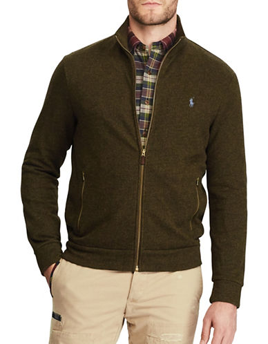 Polo Ralph Lauren Mockneck Jacquard Fleece Jacket-GREEN-Small