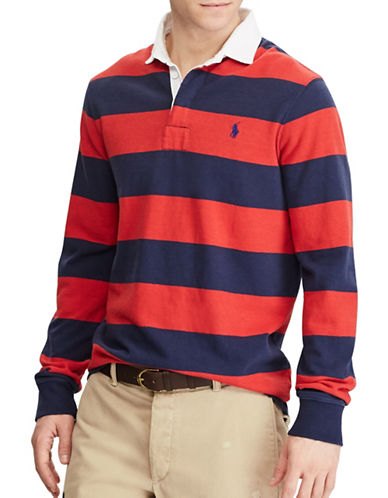 Polo Ralph Lauren The Iconic Rugby Cotton Collared Shirt-NAVY/RED-Small