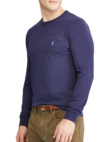 Polo Ralph Lauren Classic-Fit Pocket Cotton Tee-NEWPORT NAVY-Medium