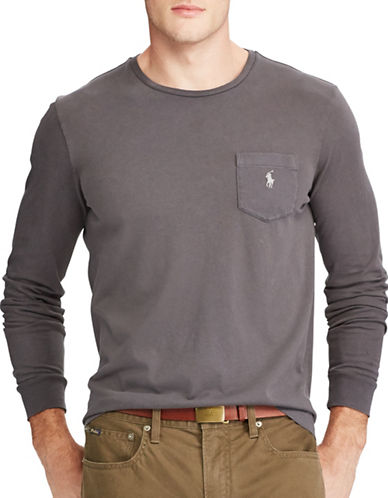Polo Ralph Lauren Classic-Fit Pocket Cotton Tee-GREY-Large