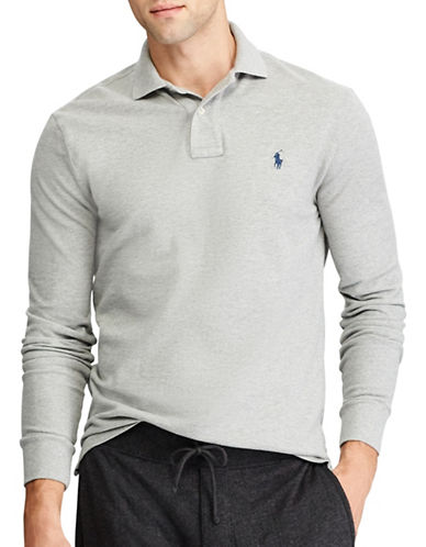 Polo Ralph Lauren Classic Weathered Mesh Cotton Polo-GREY-Large