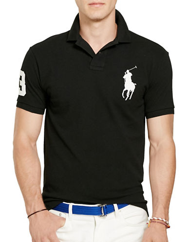 Polo Ralph Lauren Custom Slim-Fit Cotton Mesh Polo-BLACK-XX-Large