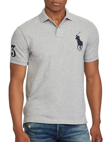 Polo Ralph Lauren Custom Slim-Fit Cotton Mesh Polo-GREY-Large