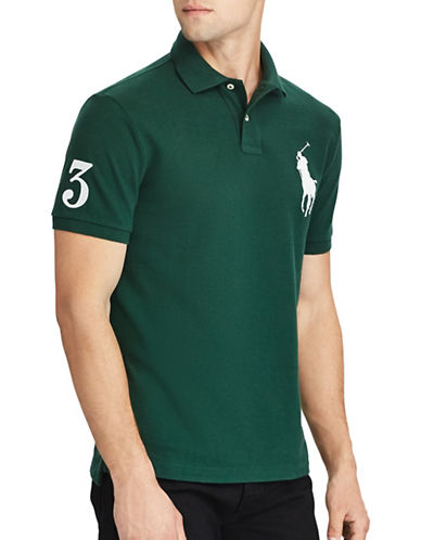 Polo Ralph Lauren Custom Slim-Fit Cotton Mesh Polo-GREEN-Large