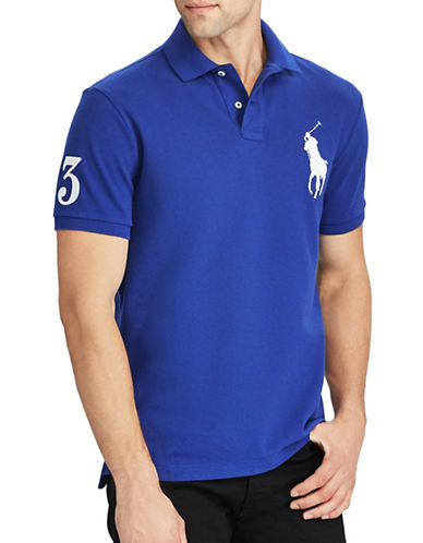 Polo Ralph Lauren Custom Slim-Fit Cotton Mesh Polo-BLUE-Medium